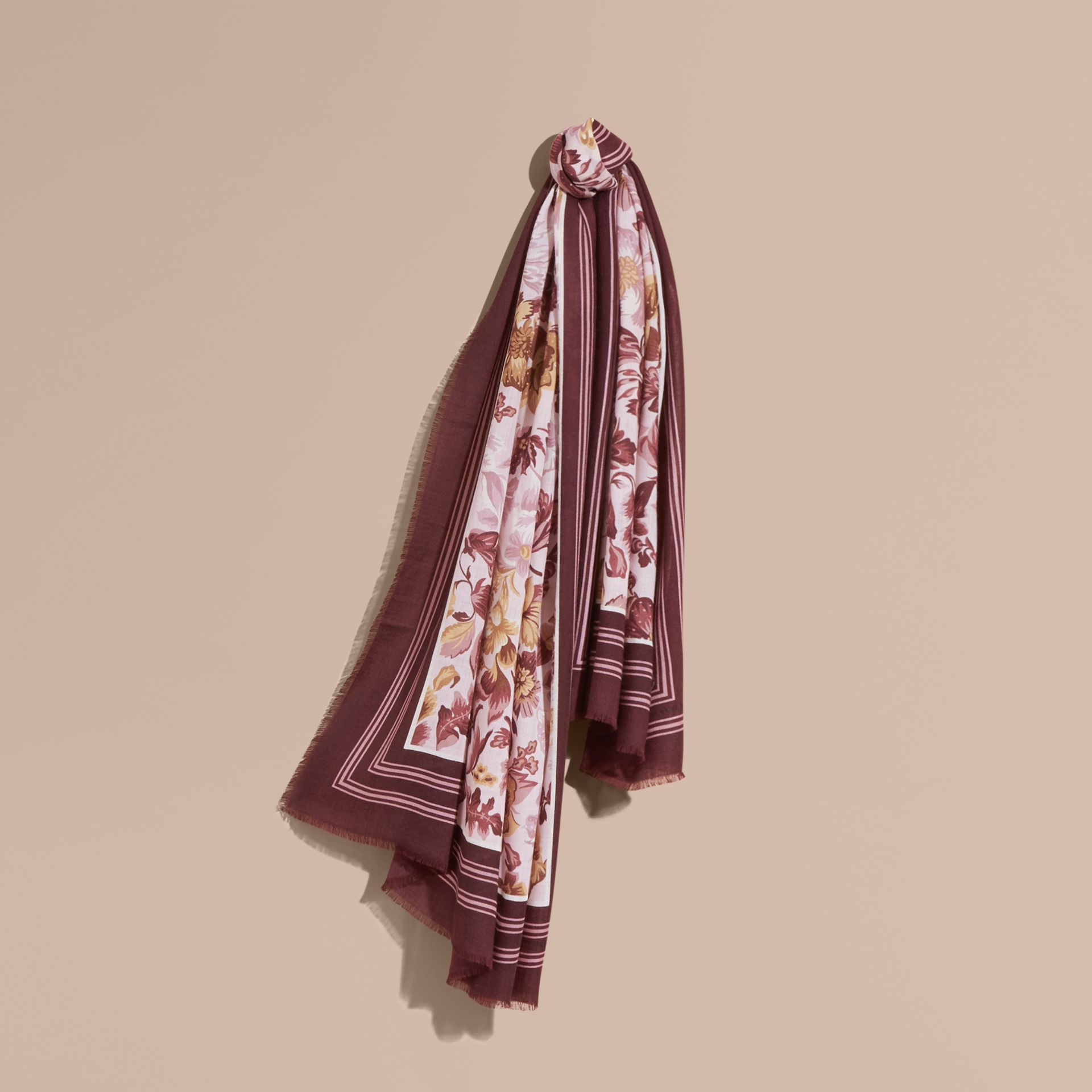 Pink heather Garden Floral Print Cashmere Scarf Pink Heather - gallery image 1