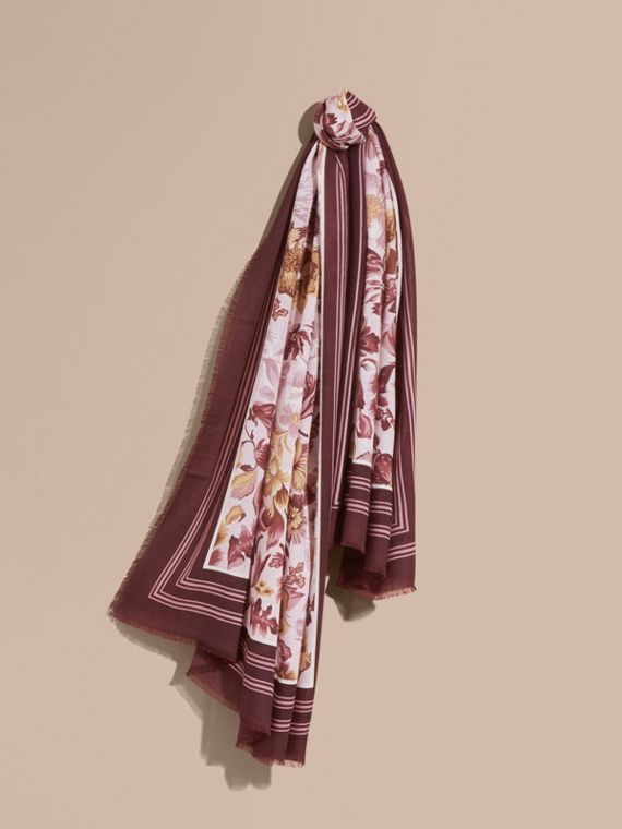 Garden Floral Print Cashmere Scarf in Pink Heather - Women | Burberry