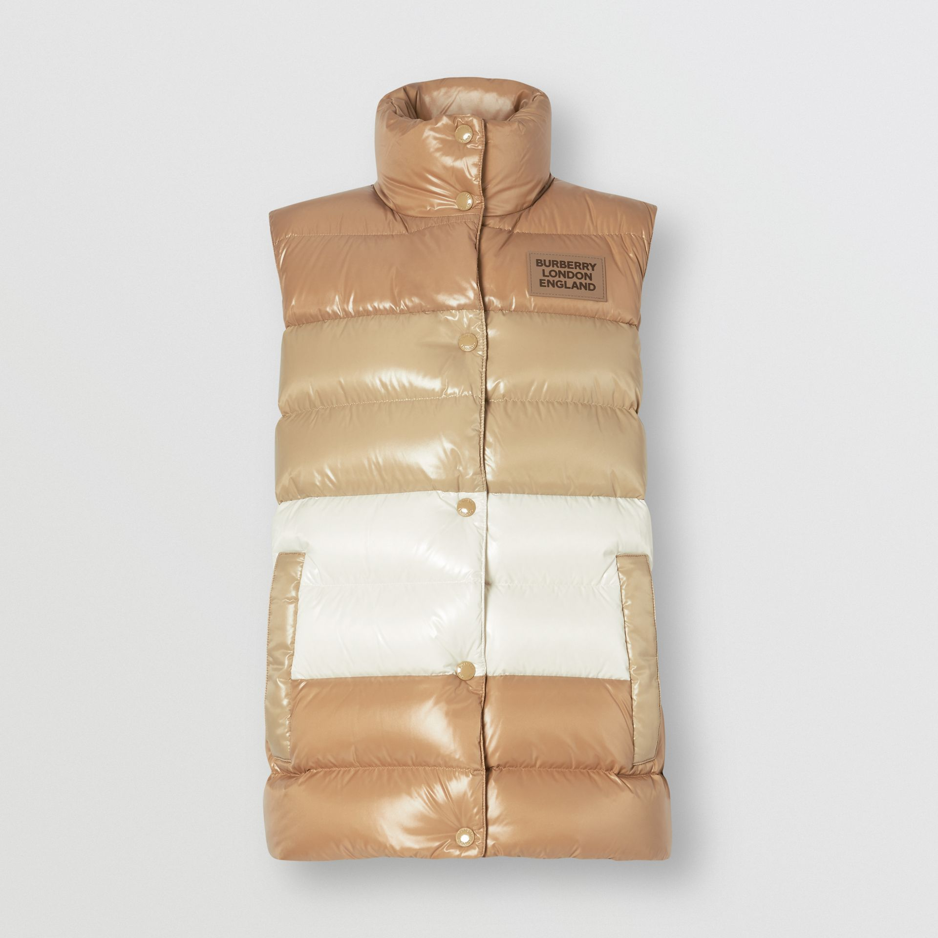 Panelled Nylon Puffer Jacket with Detachable Sleeves in Soft Camel - Women | Burberry - gallery image 7
