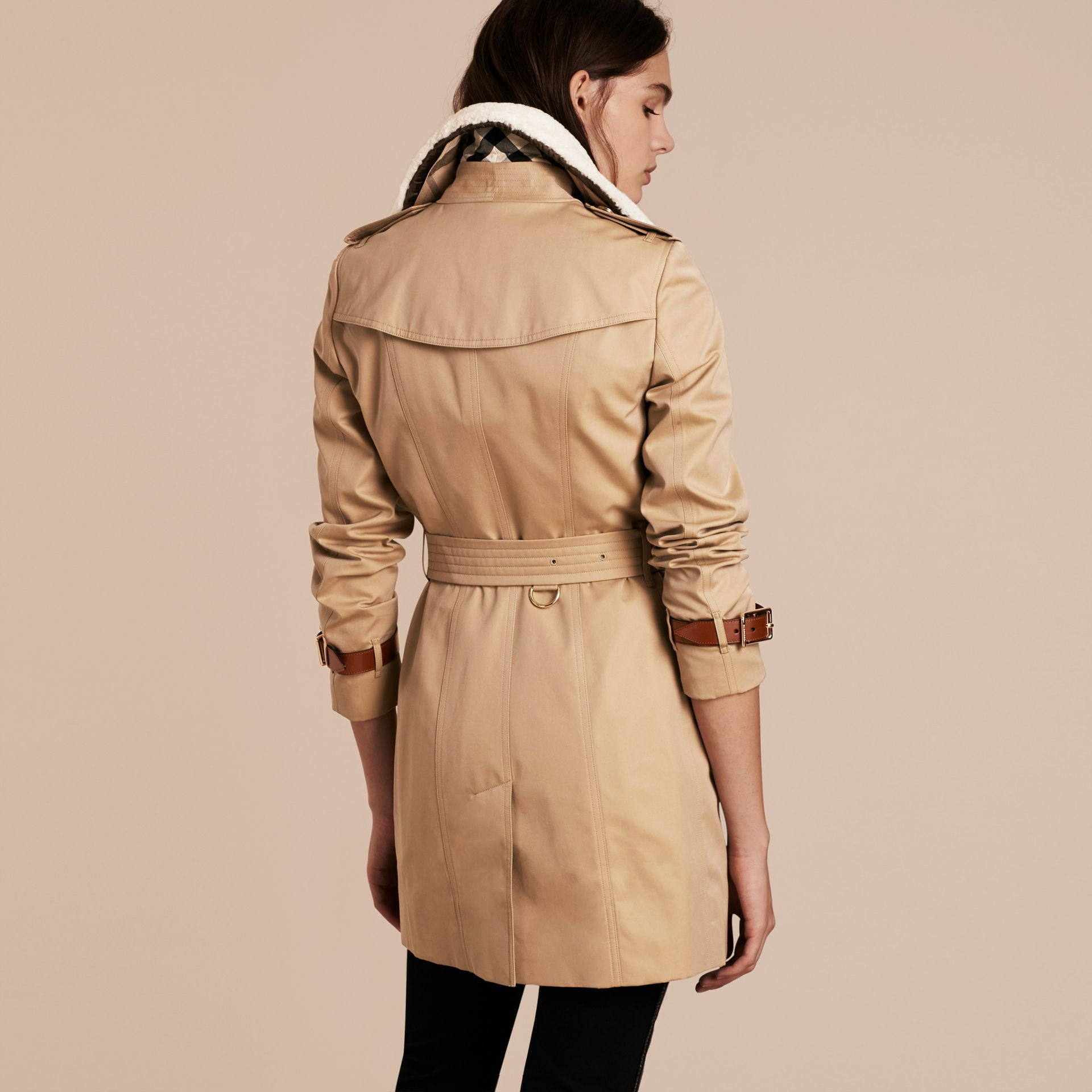 Honey Leather Trim Trench Coat with Detachable Shearling Collar - gallery image 3