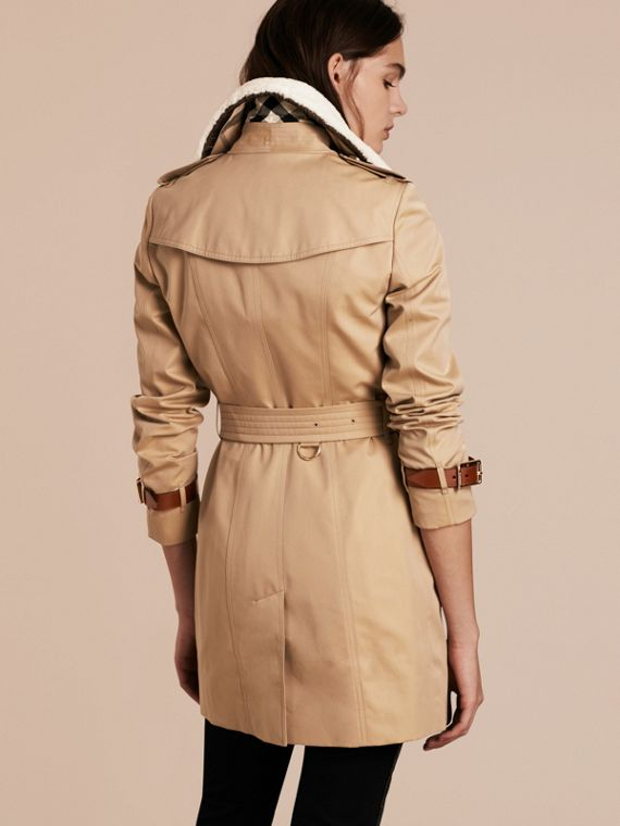 Honey Leather Trim Trench Coat with Detachable Shearling Collar - cell image 2