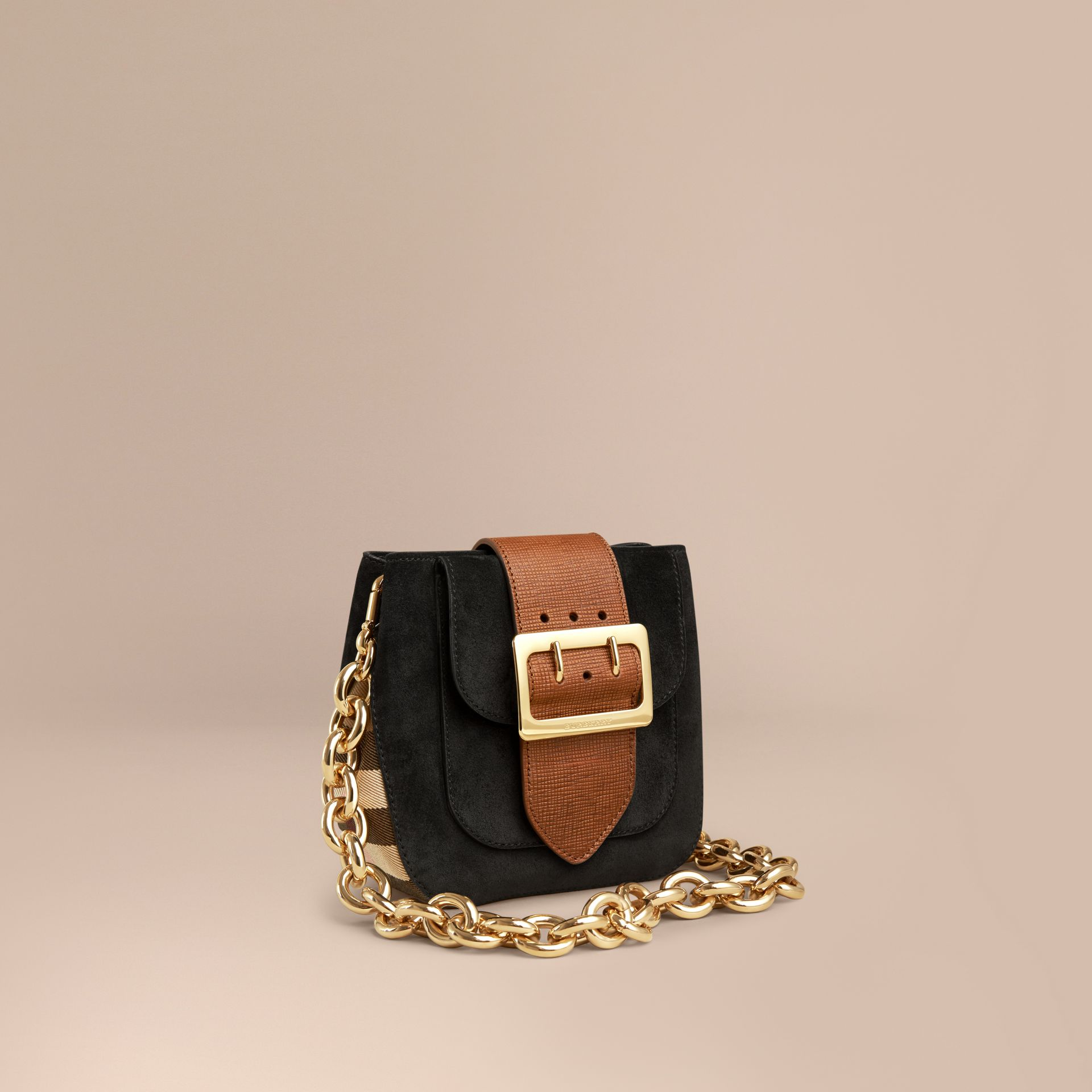 Black The Small Square Buckle Bag in English Suede and House Check - gallery image 1