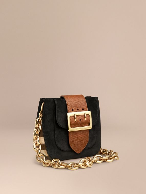 The Buckle Bag – Square in English Suede and House Check
