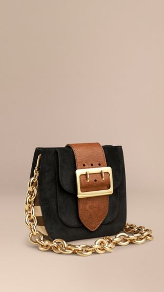 Sac The Buckle carré en cuir velours anglais et coton House check