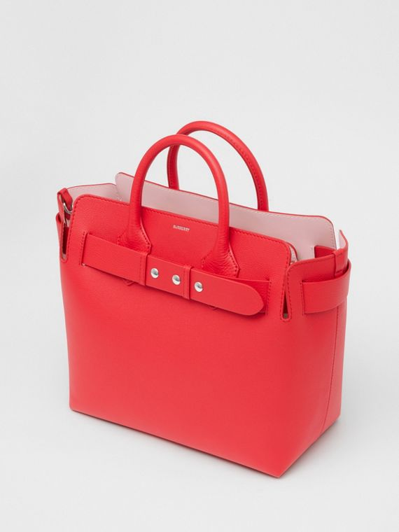 The Medium Leather Triple Stud Belt Bag in Bright Red/alabaster Pink