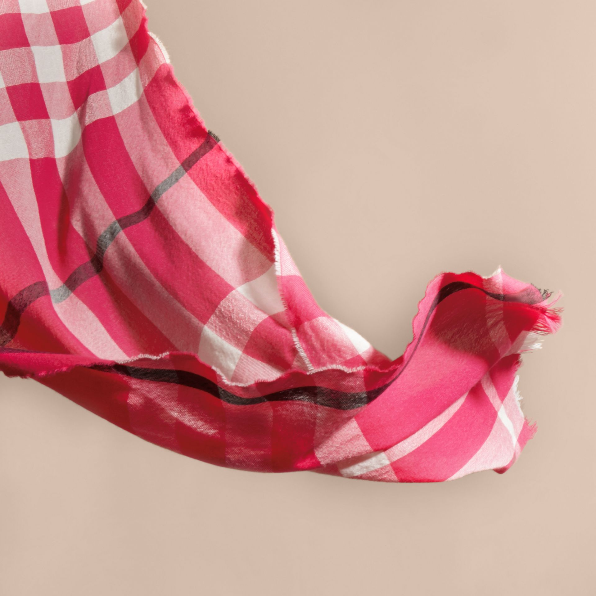 Bright pink Lightweight Check Wool Cashmere Scarf Bright Pink - gallery image 4