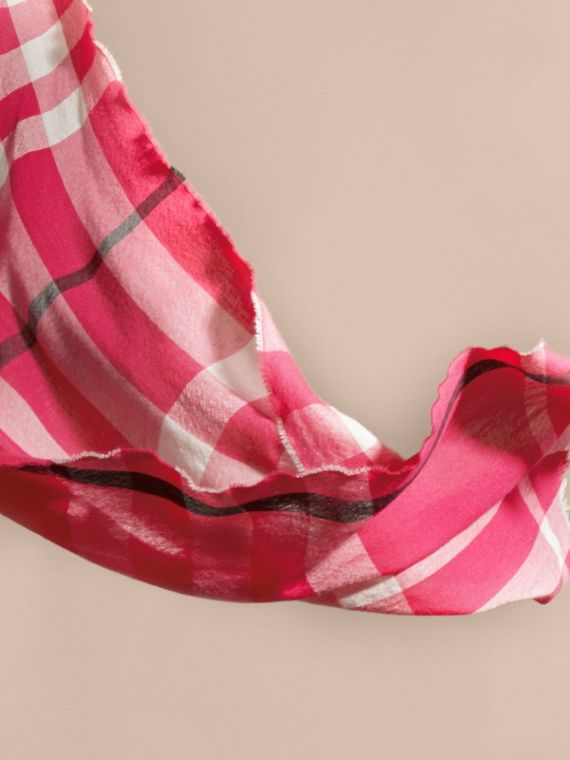 Bright pink Lightweight Check Wool Cashmere Scarf Bright Pink - cell image 3