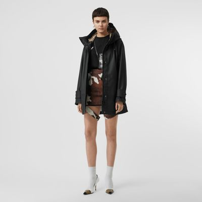 Logo Print Rubberised Hooded Coat by Burberry