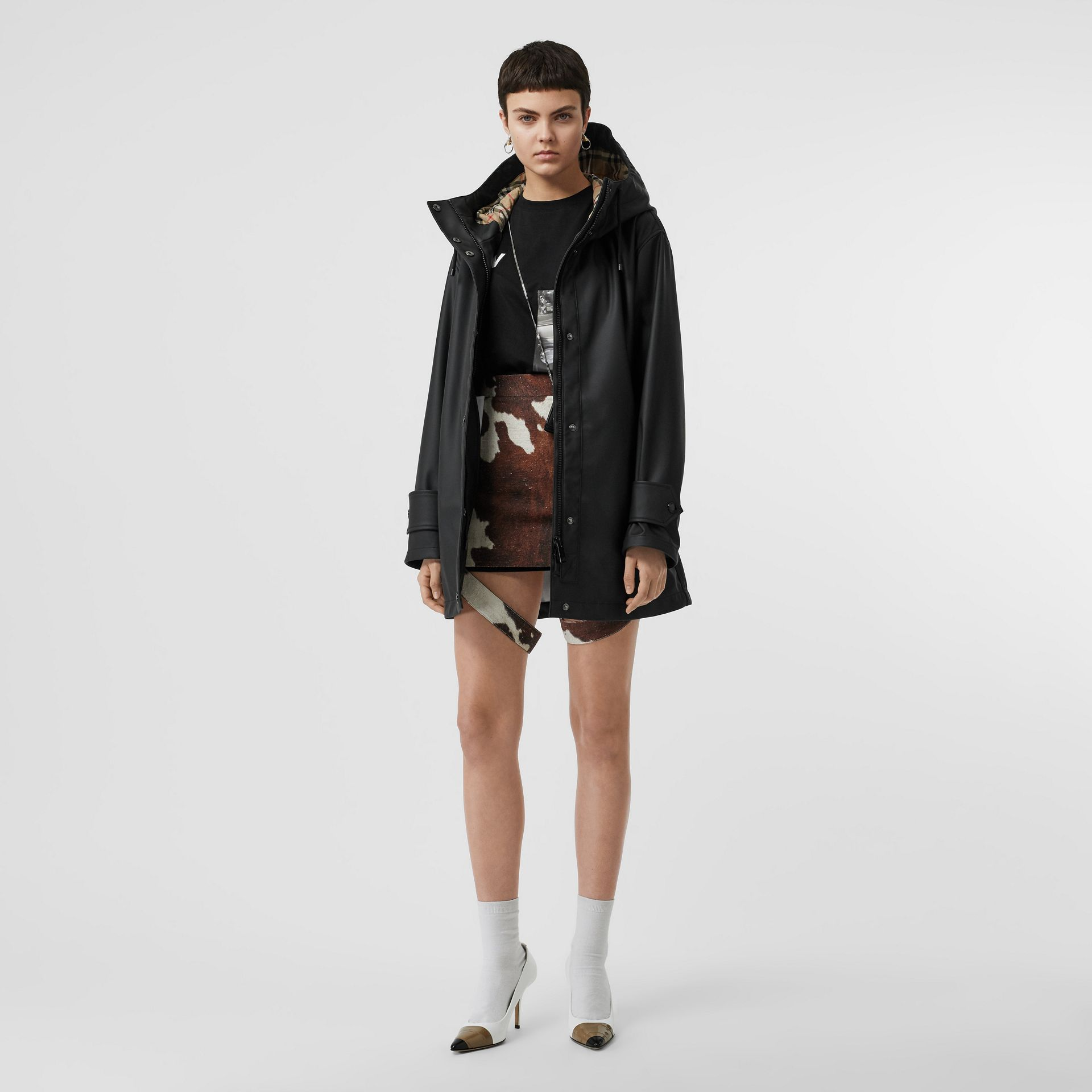 Logo Print Rubberised Hooded Coat in Black/white - Women | Burberry - gallery image 0