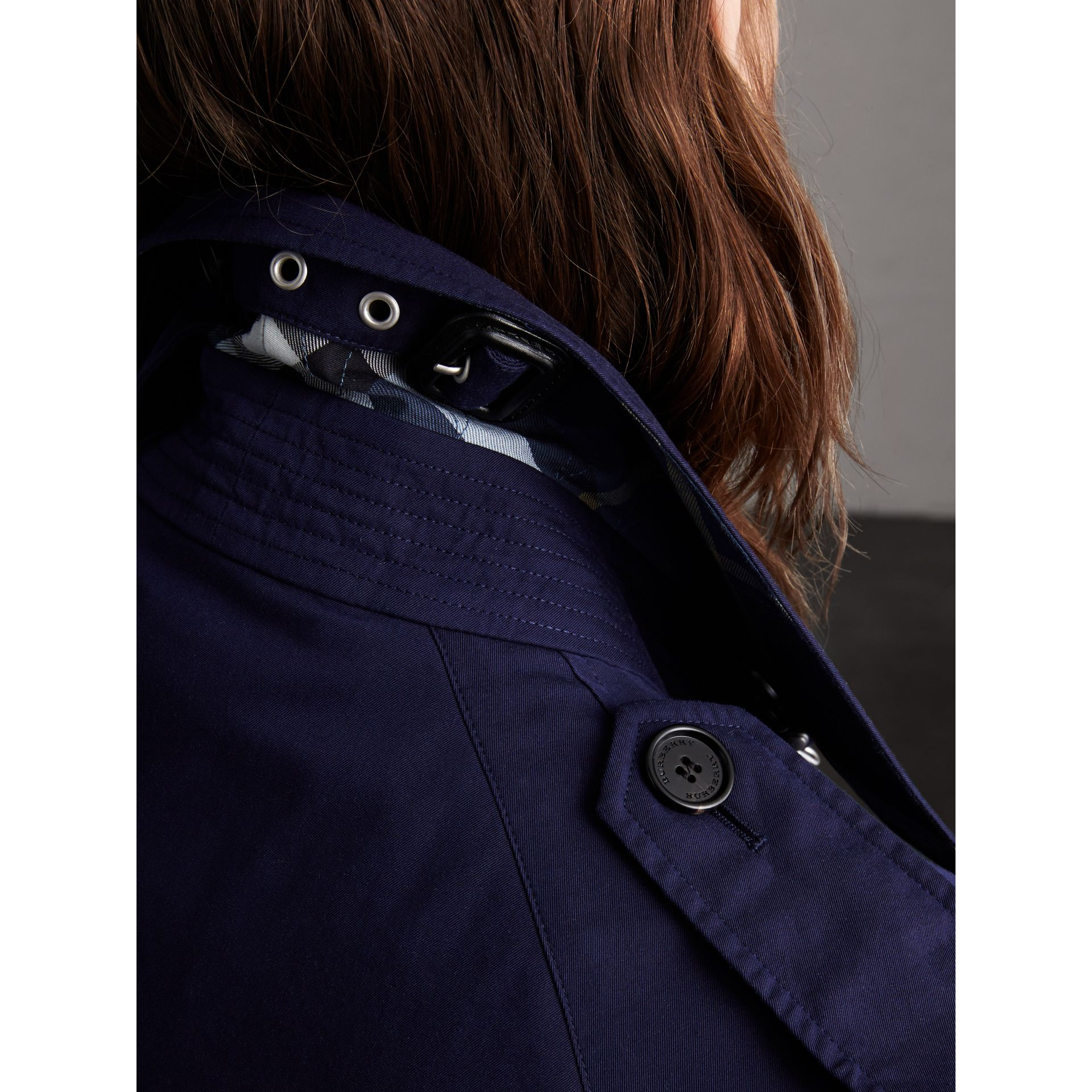 Unisex Tropical Gabardine Trench Jacket in Blueberry - Women | Burberry - gallery image 6