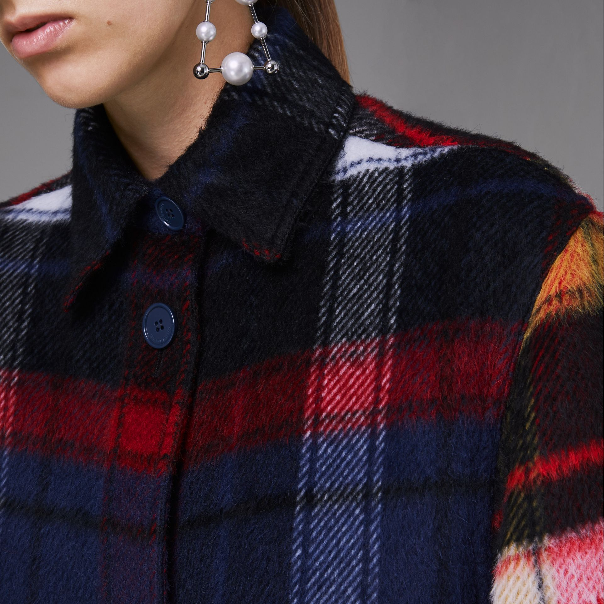 Check Alpaca Wool Jacket in Bright Navy - Women | Burberry - gallery image 1