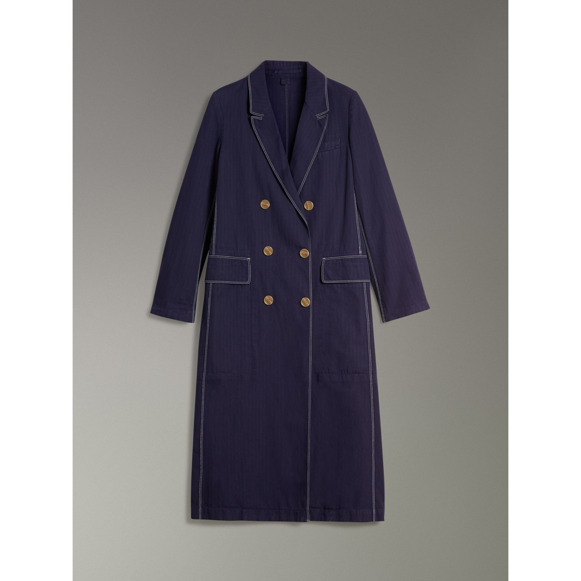 Topstitched Cotton Linen Double-breasted Coat in Deep Indigo - Women | Burberry United Kingdom - gallery image 3
