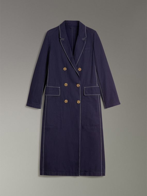 Topstitched Cotton Linen Double-breasted Coat in Deep Indigo - Women | Burberry Singapore - cell image 3