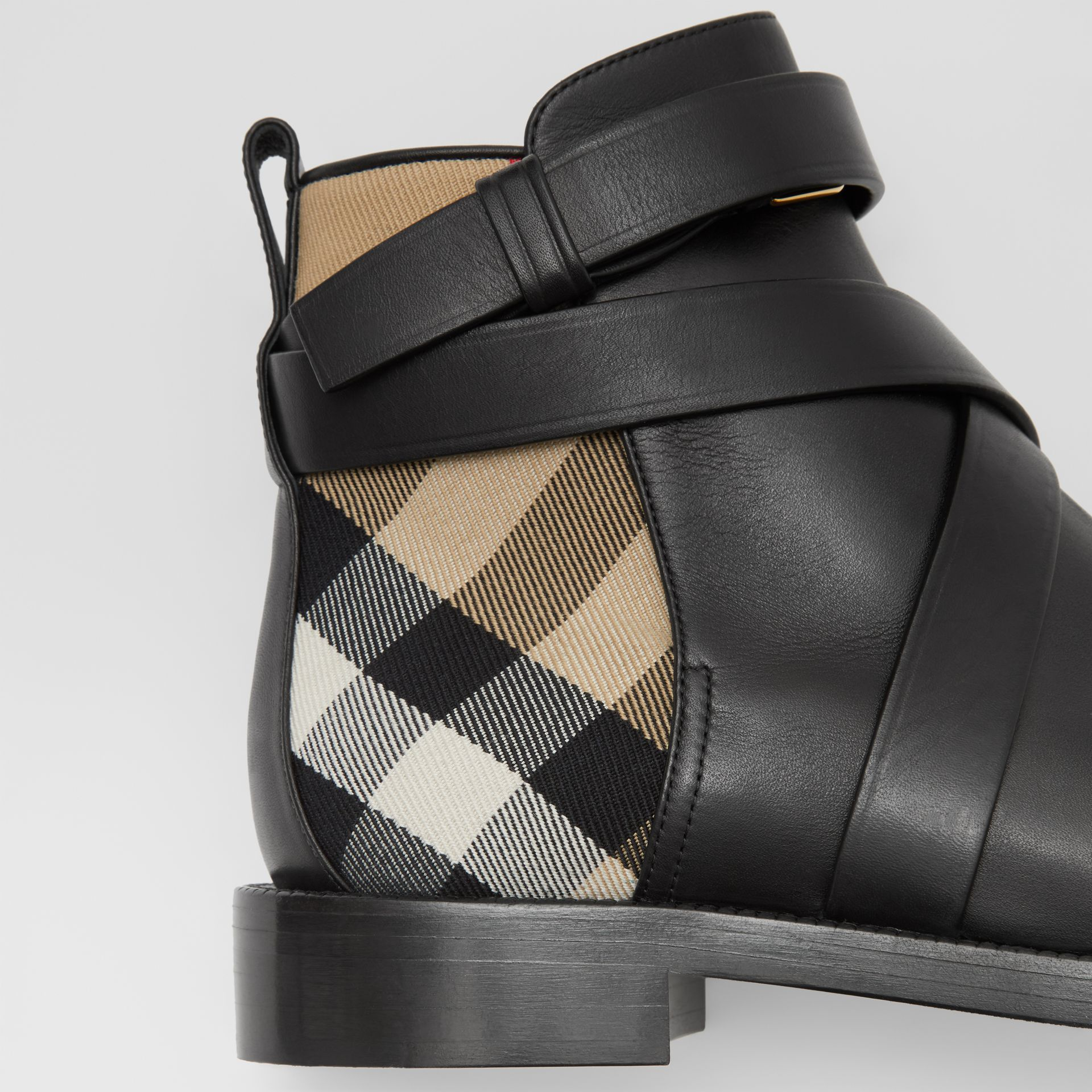 House Check and Leather Ankle Boots in Black/archive Beige - Women | Burberry United Kingdom - gallery image 1