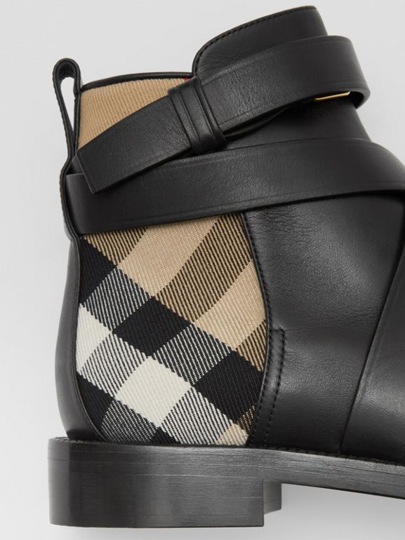 House Check and Leather Ankle Boots in Black/archive Beige - Women | Burberry United Kingdom - cell image 1