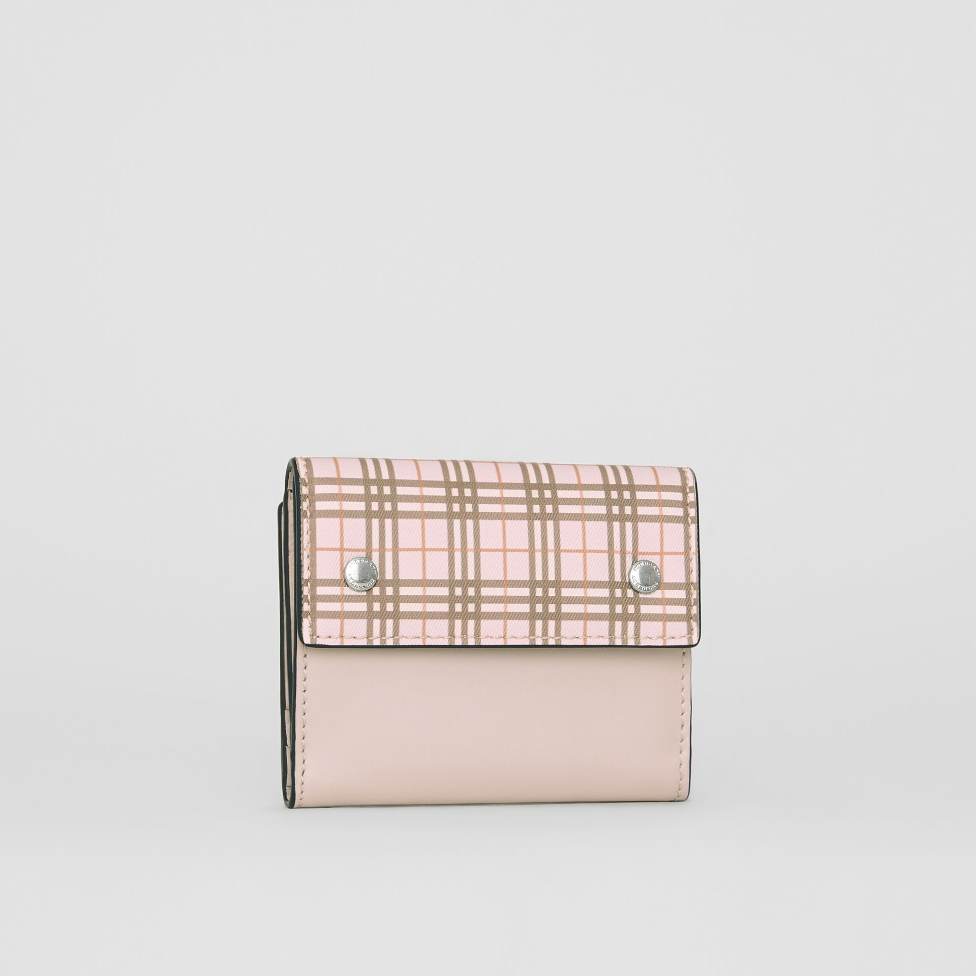 Small Scale Check and Leather Folding Wallet in Ice Pink - Women | Burberry Australia - gallery image 4