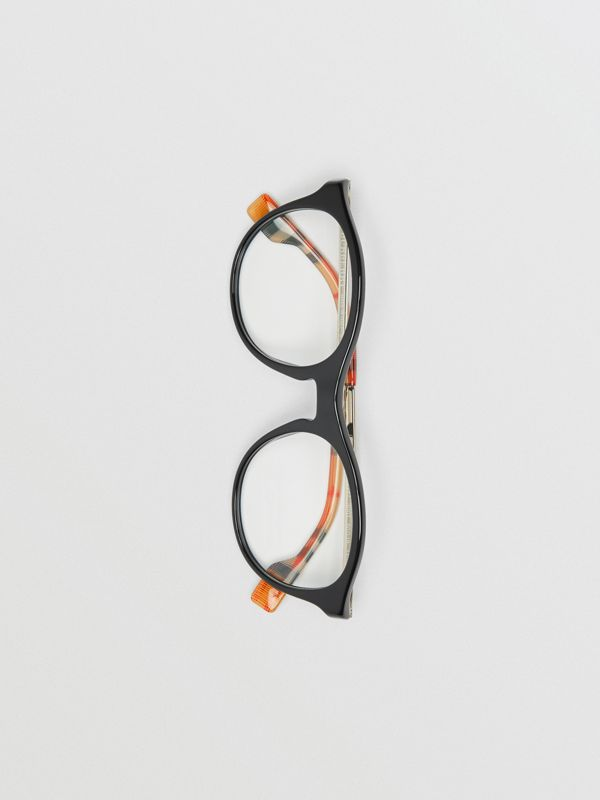 Vintage Check Detail Round Optical Frames in Black - Women | Burberry - cell image 2