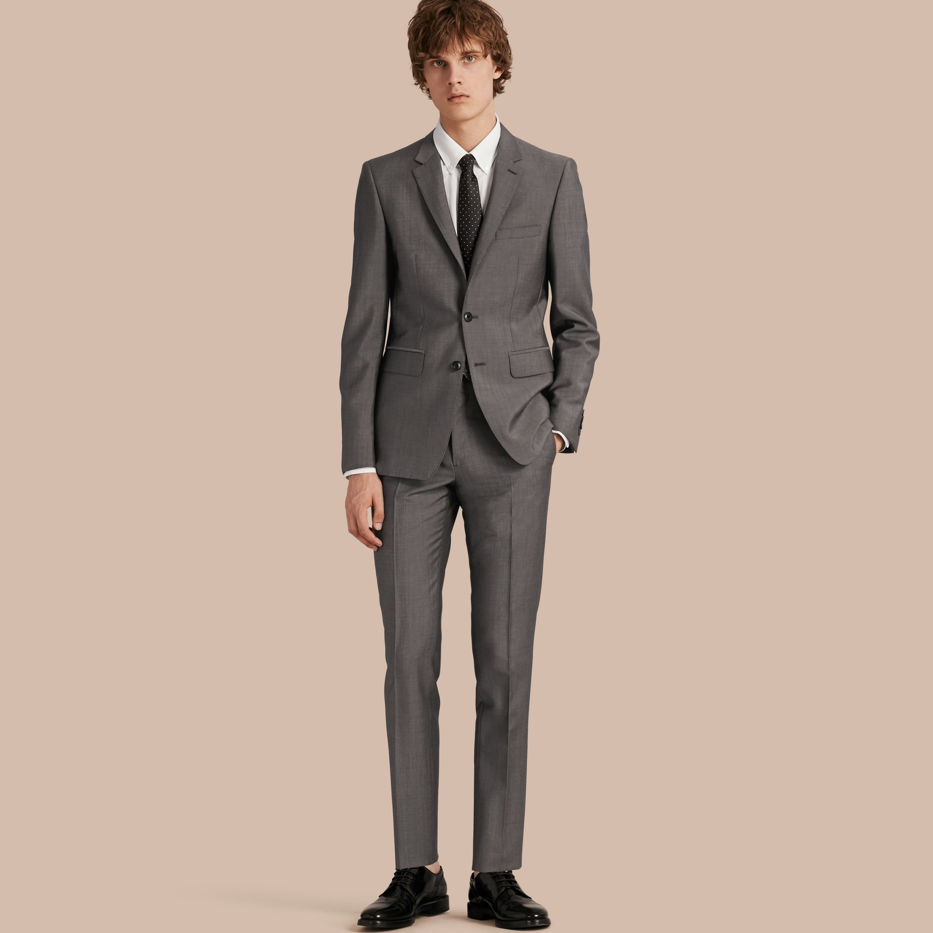 Mid grey Slim Fit Wool Mohair Part-canvas Suit - gallery image 1