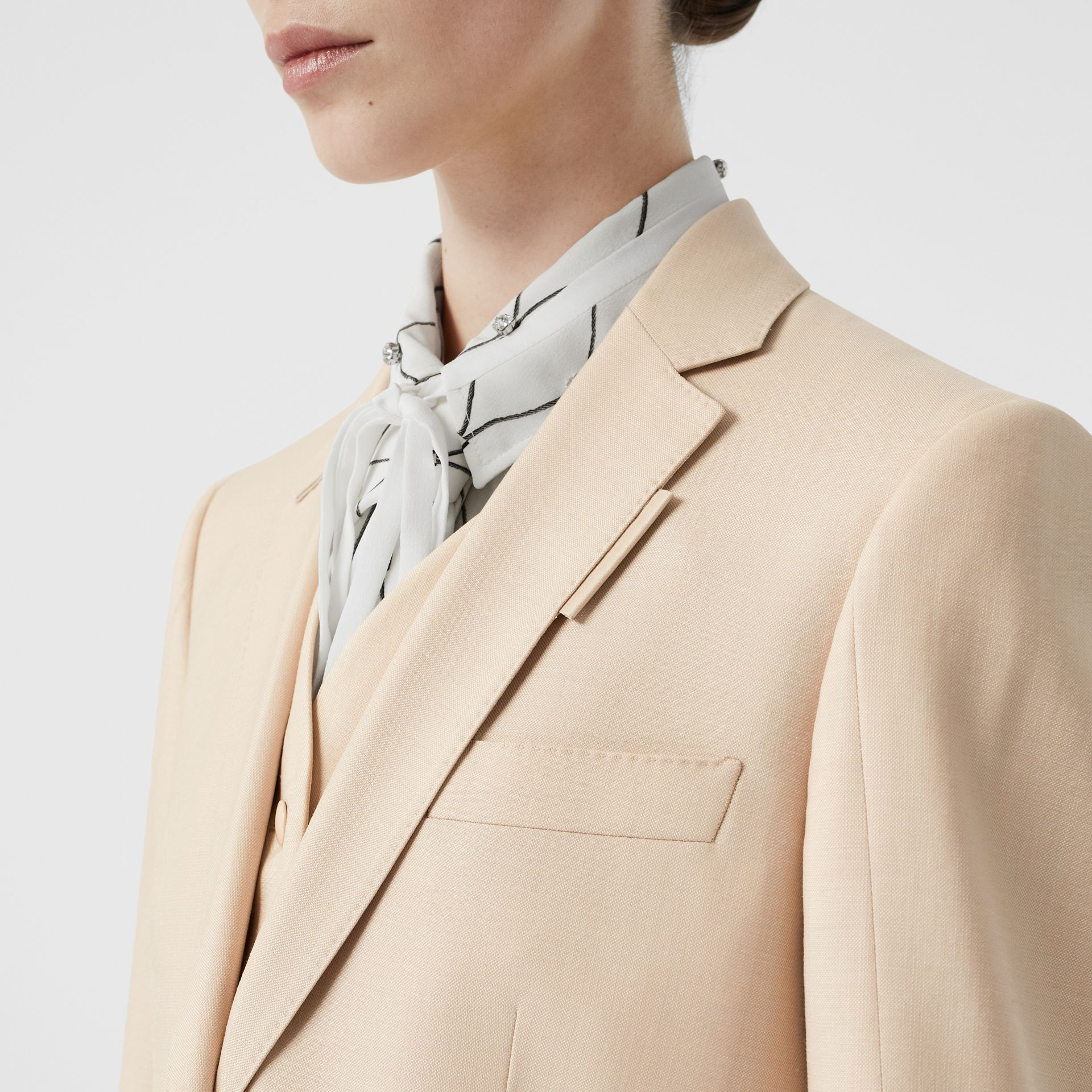 Waistcoat Detail Mohair Silk Blend Blazer in Sesame - Women | Burberry - gallery image 1