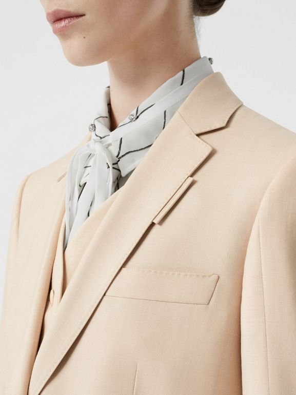 Waistcoat Detail Mohair Silk Blend Blazer in Sesame - Women | Burberry - cell image 1