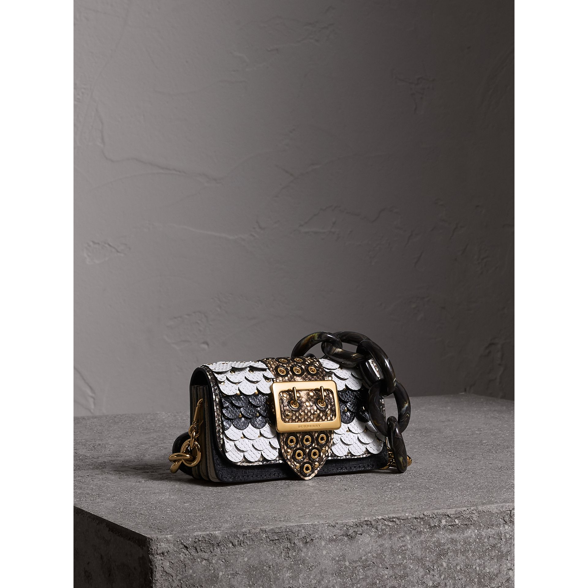 The Small Buckle Bag in Scalloped Snakeskin in Black/white - Women | Burberry - gallery image 8