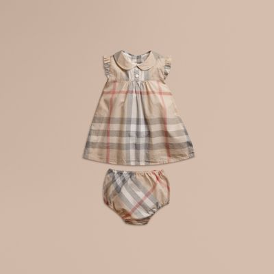 Washed Check Cotton Dress in Pale Classic Girl