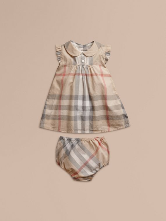 Washed Check Cotton Dress in Pale Classic