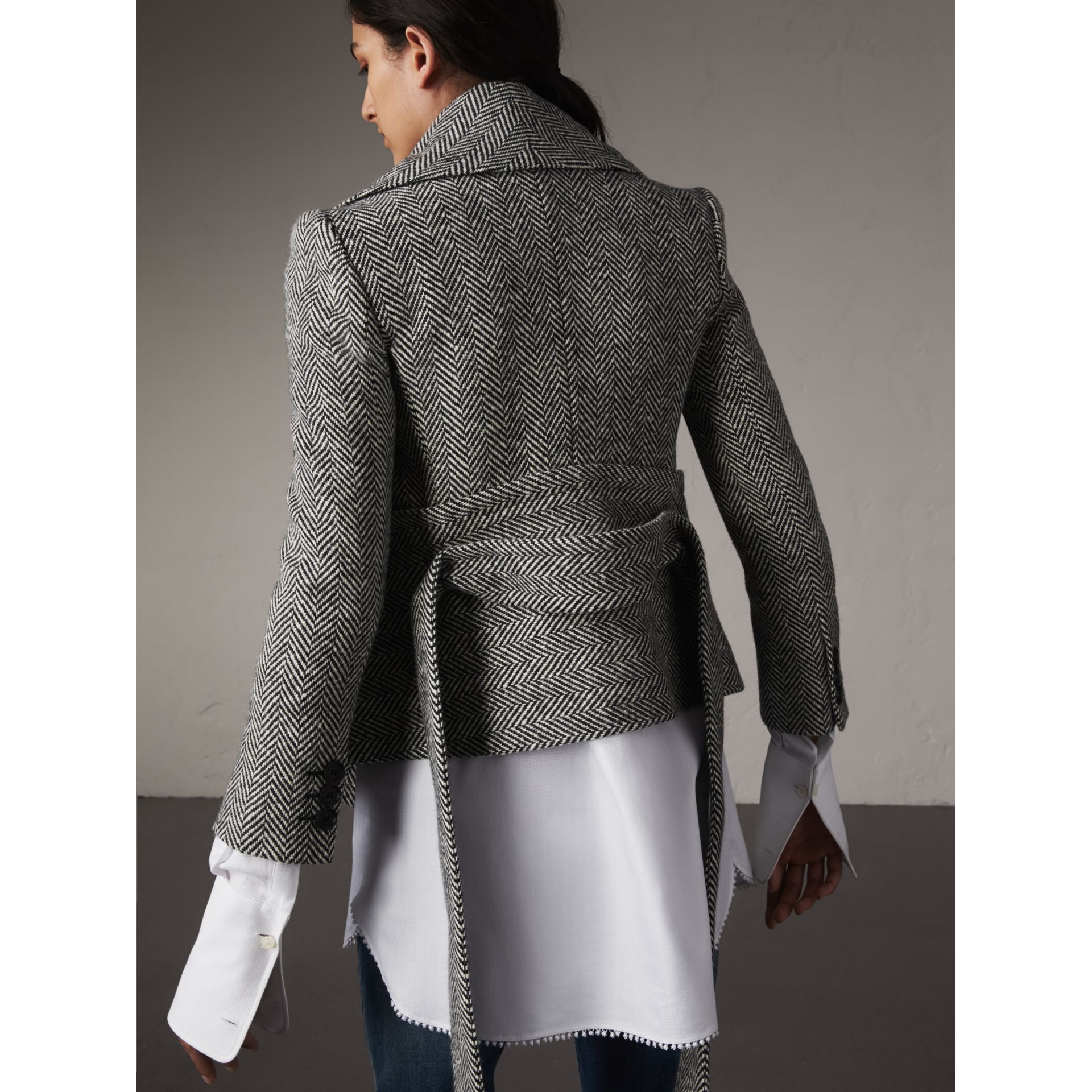 Herringbone Wool Cashmere Wrap Jacket - Women | Burberry - gallery image 3