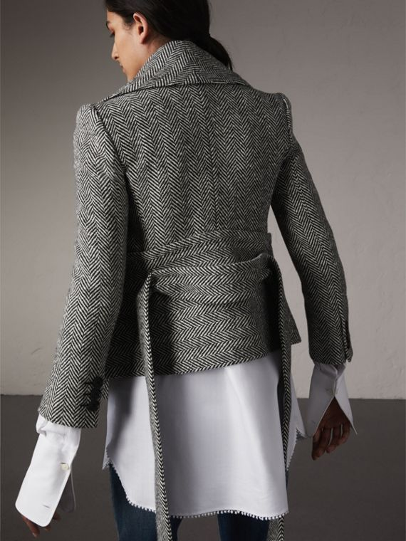 Herringbone Wool Cashmere Wrap Jacket in Black - Women | Burberry Hong Kong - cell image 2