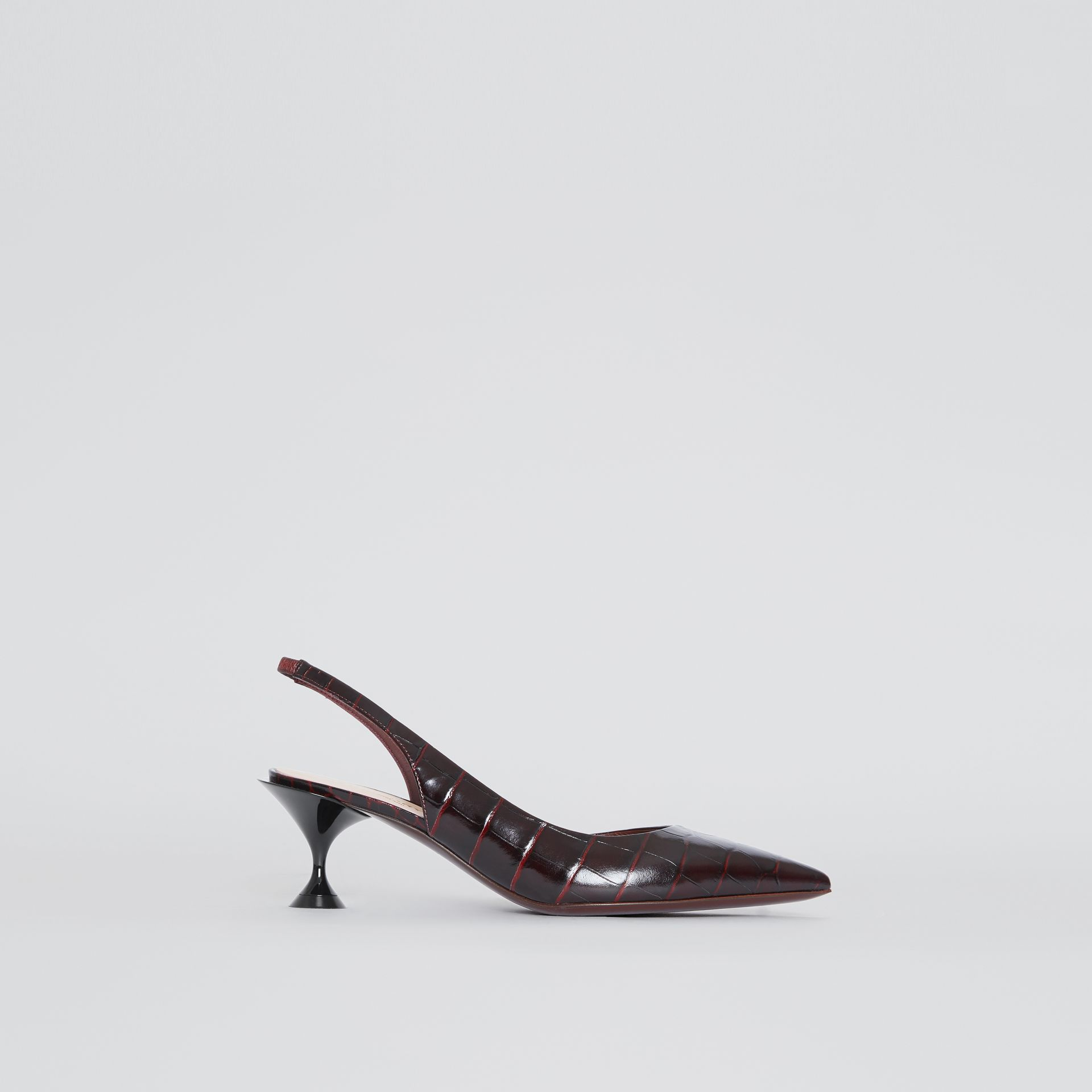 Embossed Leather Slingback Pumps in Bordeaux - Women | Burberry - gallery image 5