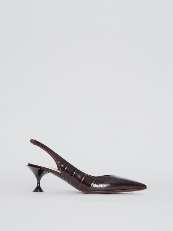Embossed Leather Slingback Pumps in Bordeaux