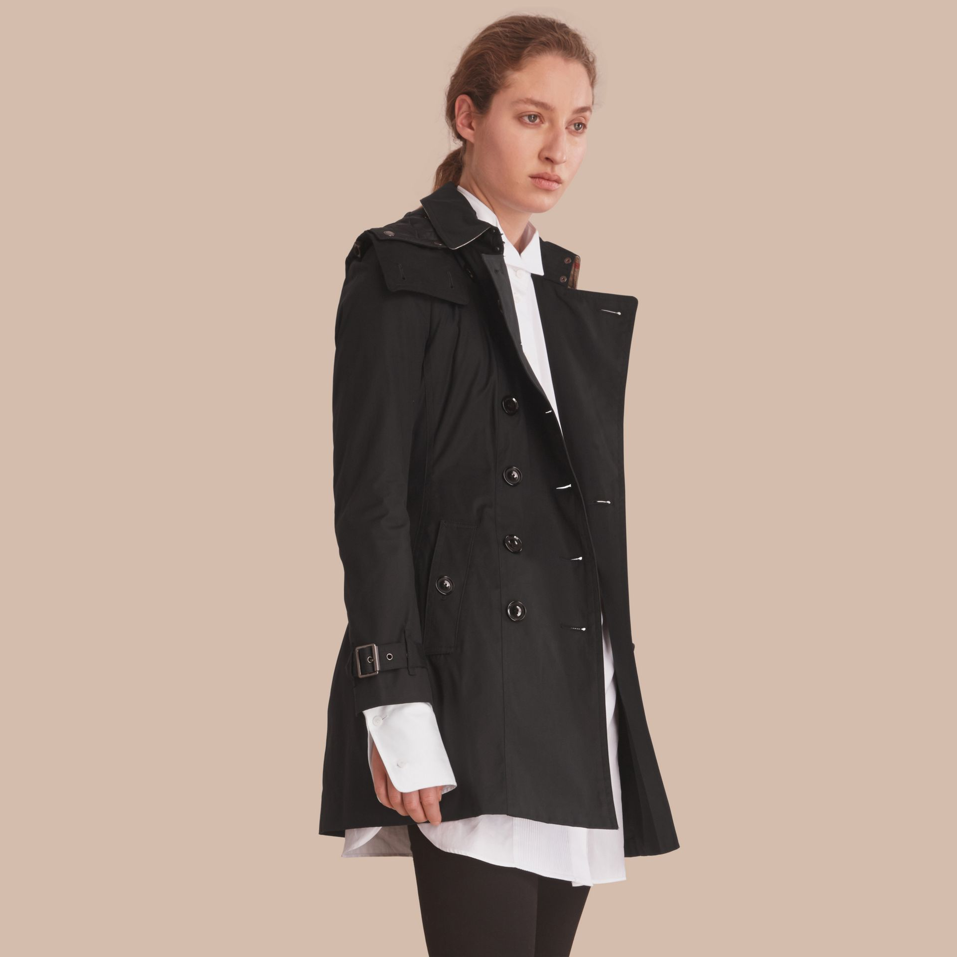 Hooded Trench Coat with Warmer Black - gallery image 1