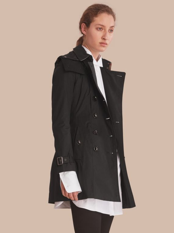 Hooded Trench Coat with Warmer in Black