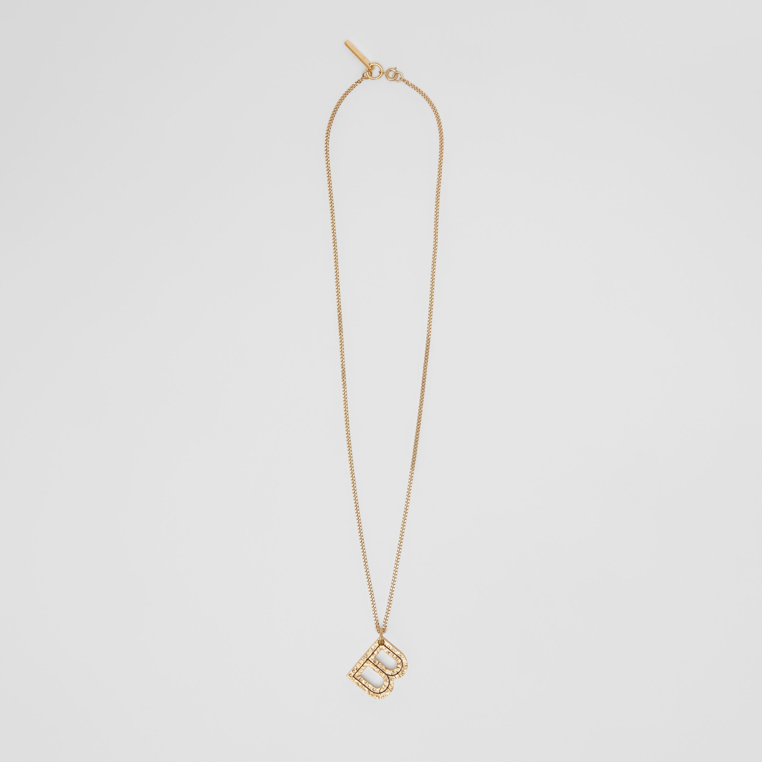 'B' Alphabet Charm Gold-plated Necklace in Light - Women | Burberry United Kingdom - 1