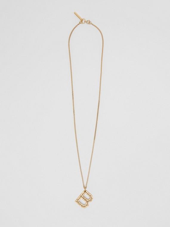 Collana con ciondolo a forma di B in metallo placcato oro (Chiaro)