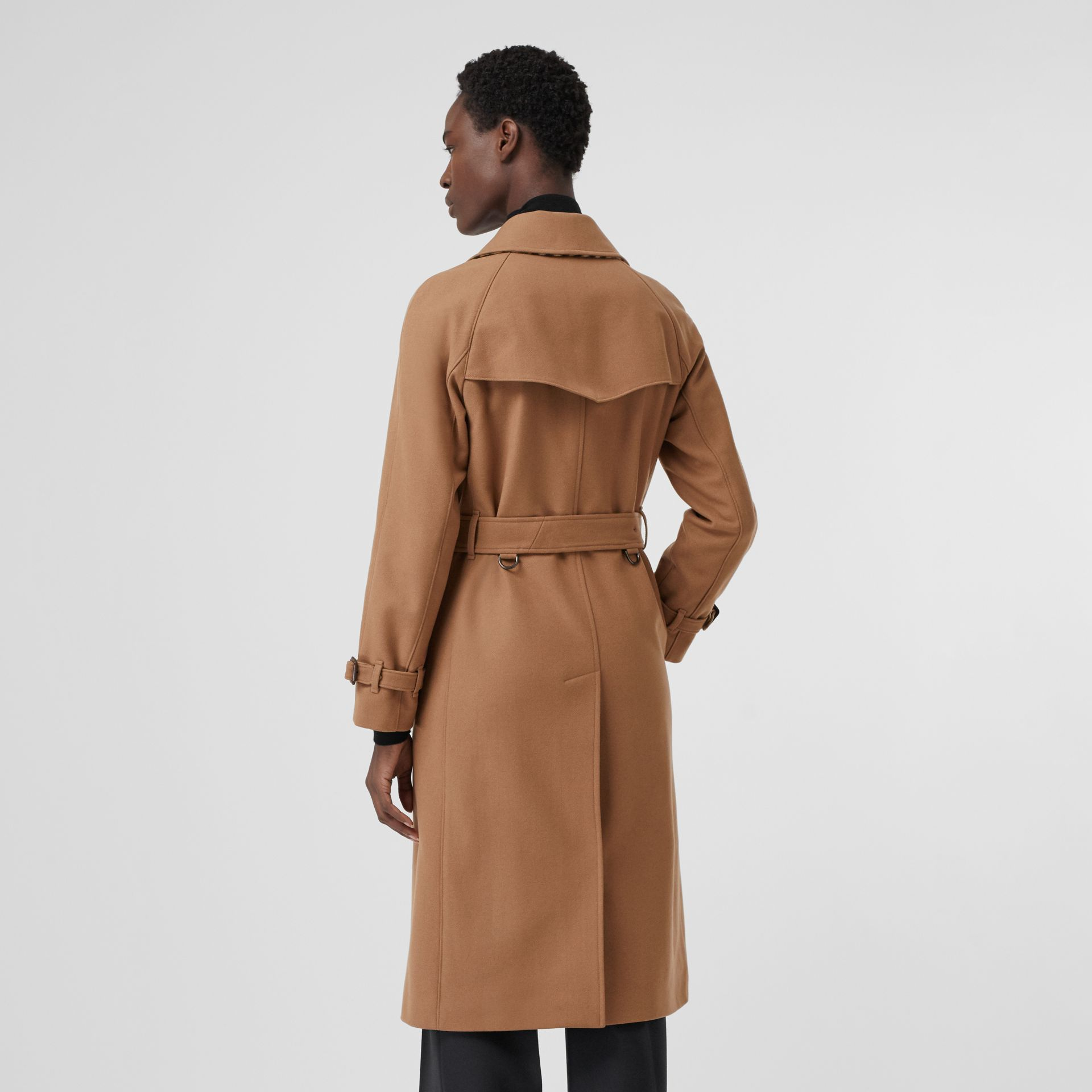 Herringbone Wool Cashmere Blend Trench Coat in Camel - Women | Burberry - gallery image 2
