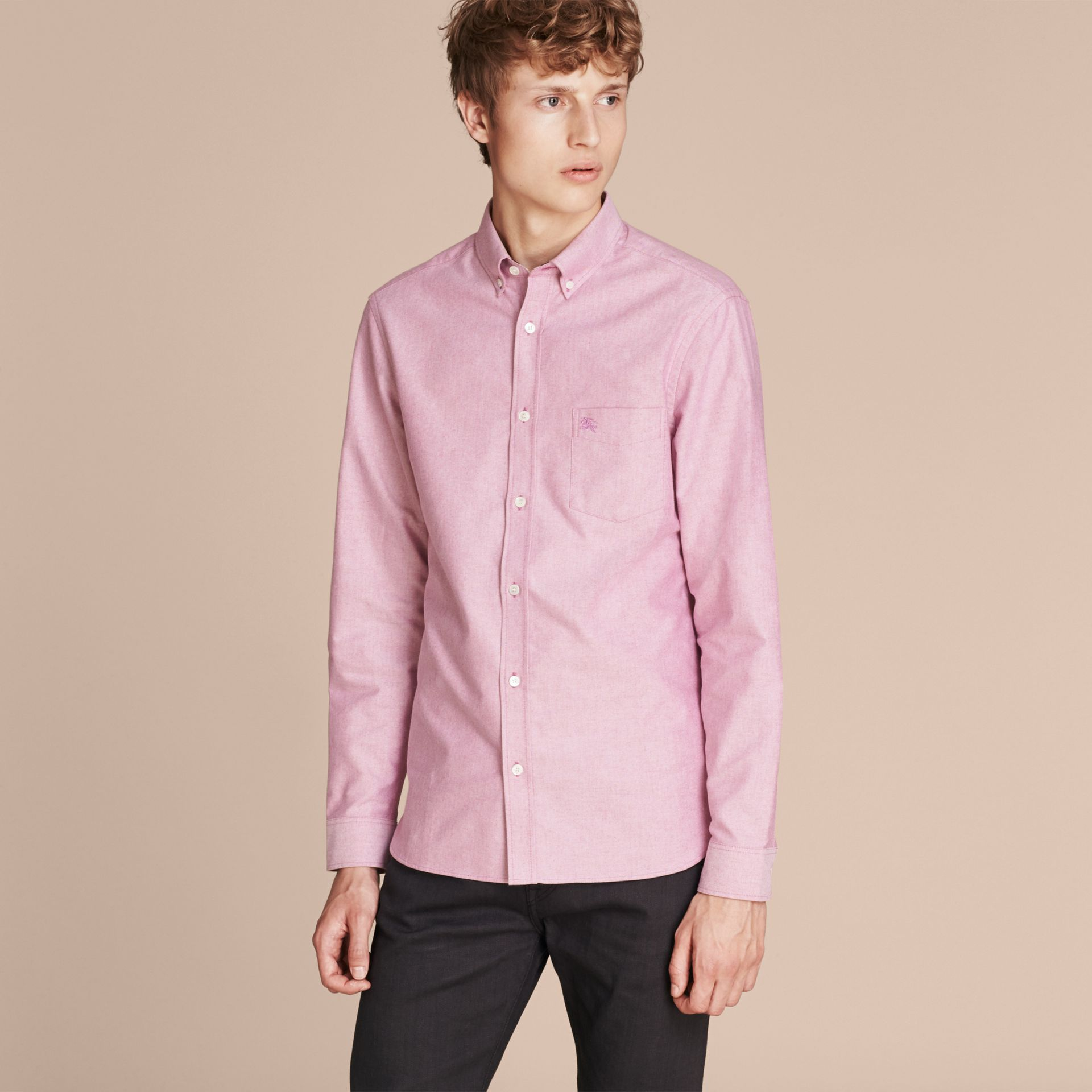 Check Detail Cotton Oxford Shirt in Bright Rose - Men | Burberry - gallery image 6