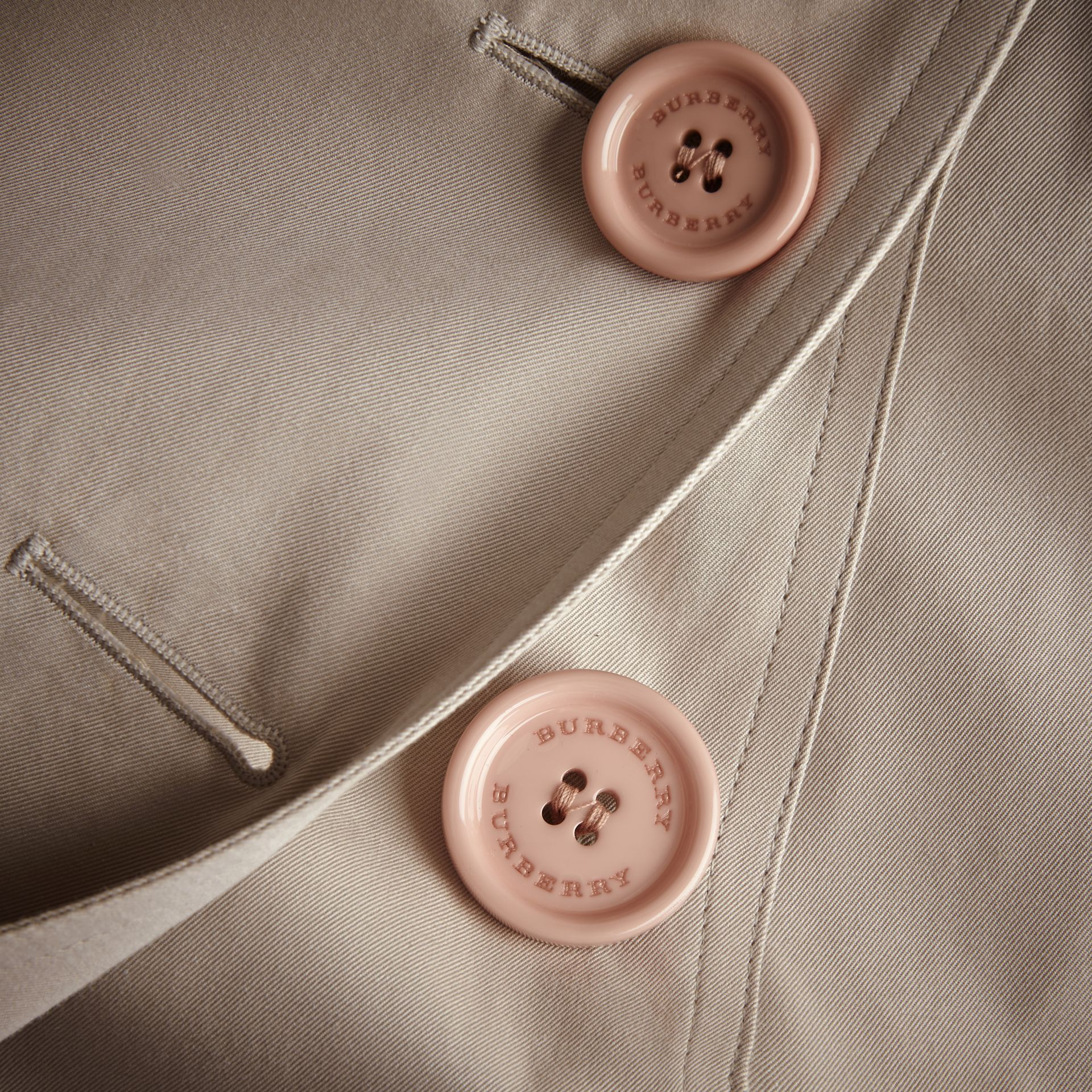 Resin Button Cotton Gabardine Trench Coat - gallery image 2