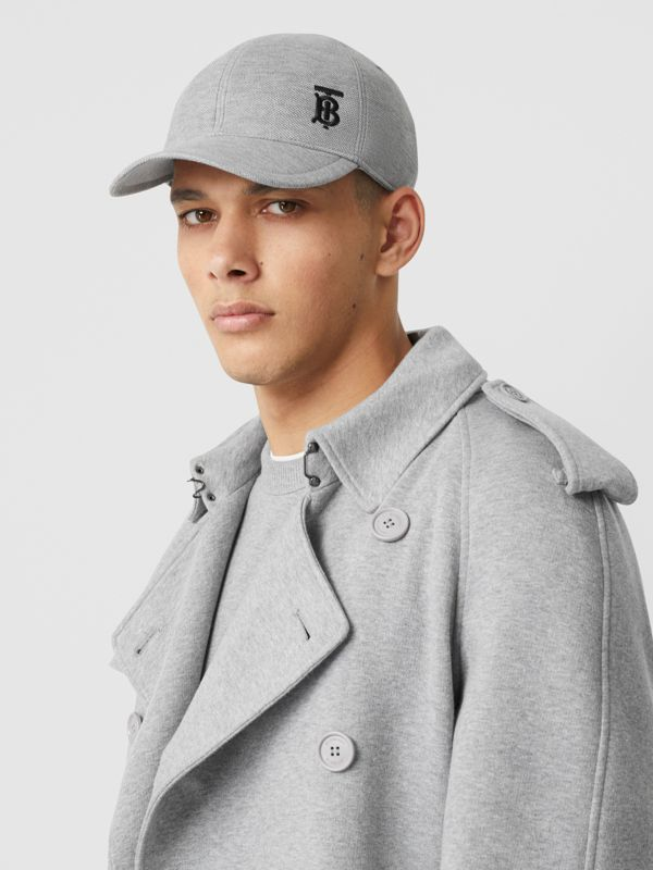 Monogram Motif Baseball Cap in Pale Grey Melange | Burberry - cell image 3