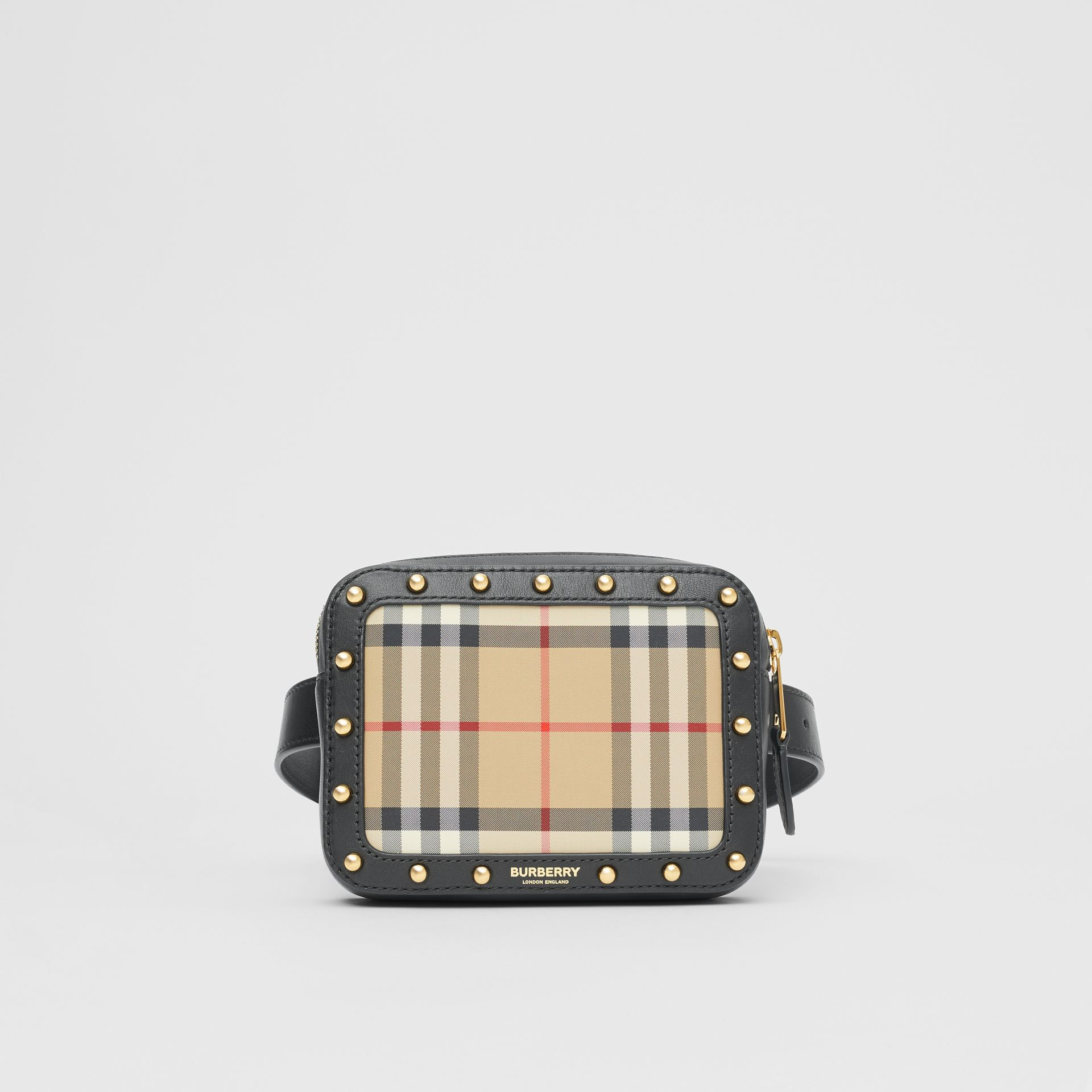 Vintage Check and Studded Leather Bum Bag in Black - Children | Burberry Hong Kong S.A.R - gallery image 0