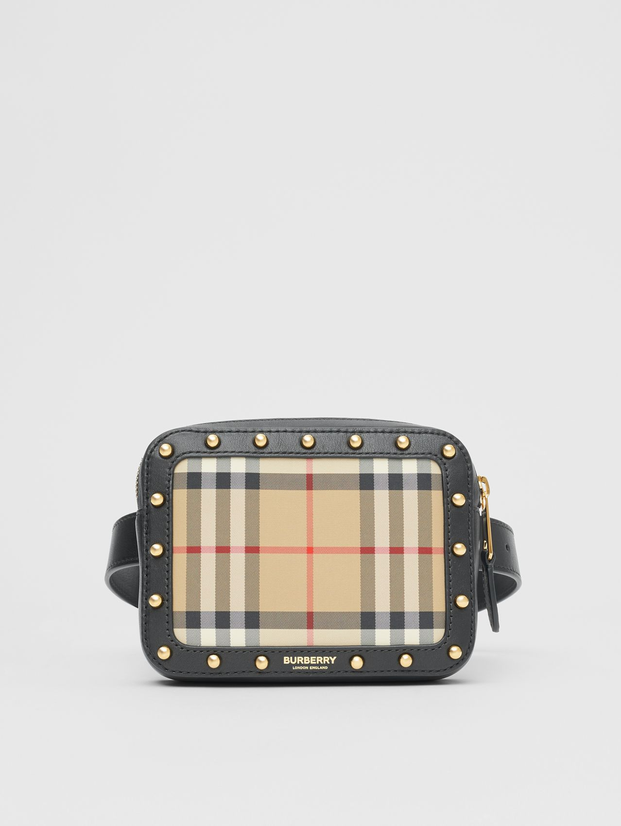 Vintage Check and Studded Leather Bum Bag in Black