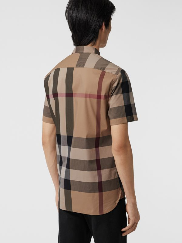 Short-sleeve Check Stretch Cotton Blend Shirt in Camel - Men | Burberry - cell image 2