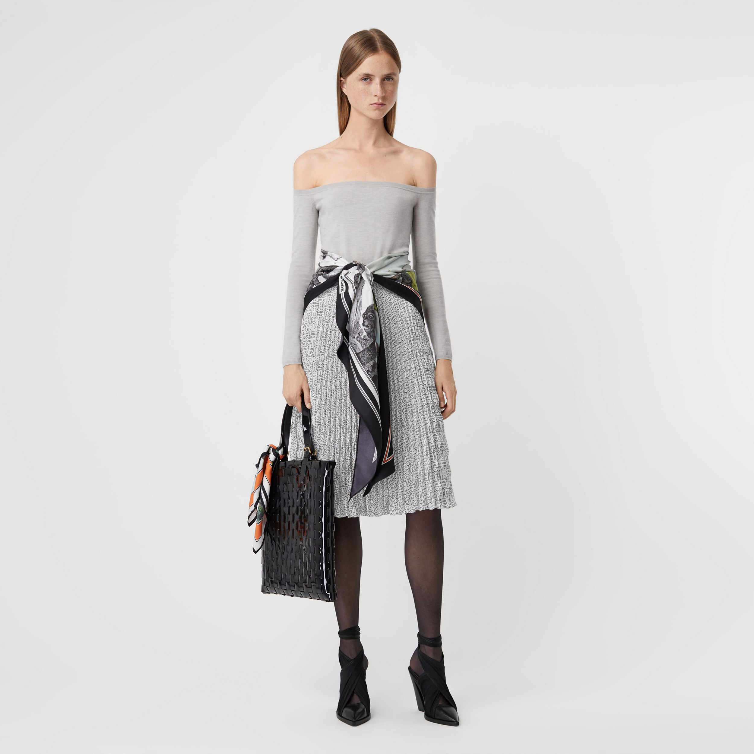 Monogram Print Crepe De Chine Pleated Skirt in White/black - Women | Burberry - 1