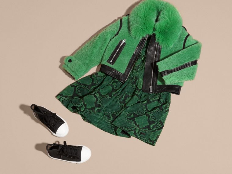 Verde pigmento Giacca in shearling con collo in volpe - cell image 4