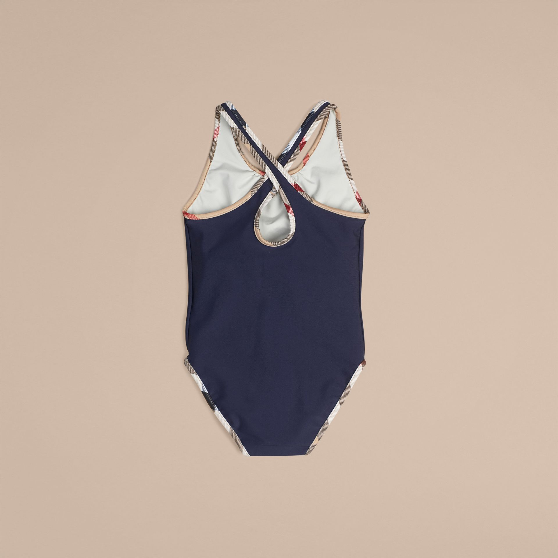 Check Detail One-piece Swimsuit in Navy - Girl | Burberry Australia - gallery image 2