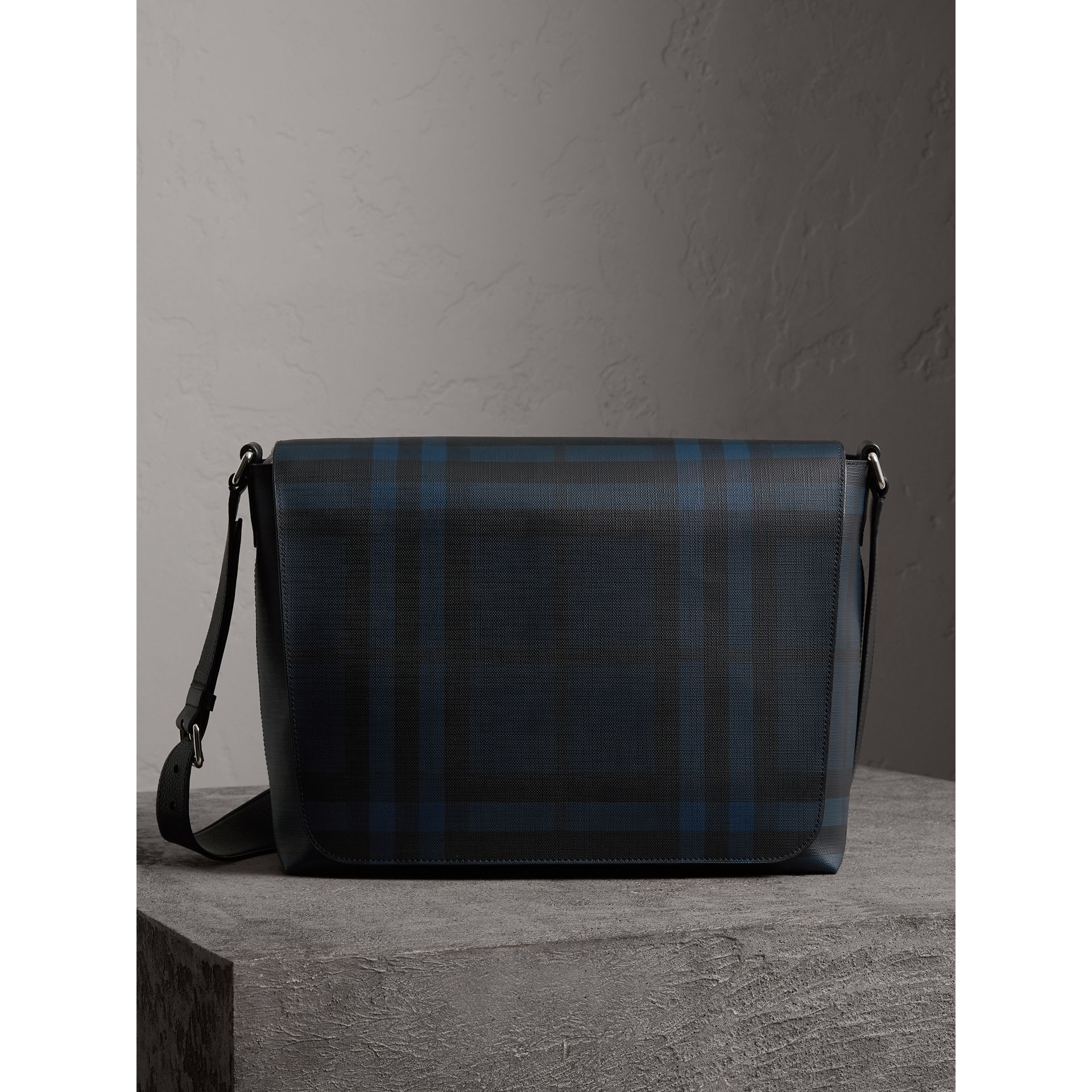 Large London Check Messenger Bag in Navy/black | Burberry Hong Kong - gallery image 1