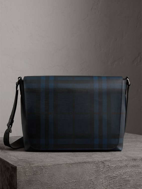 Large London Check Messenger Bag in Navy/black
