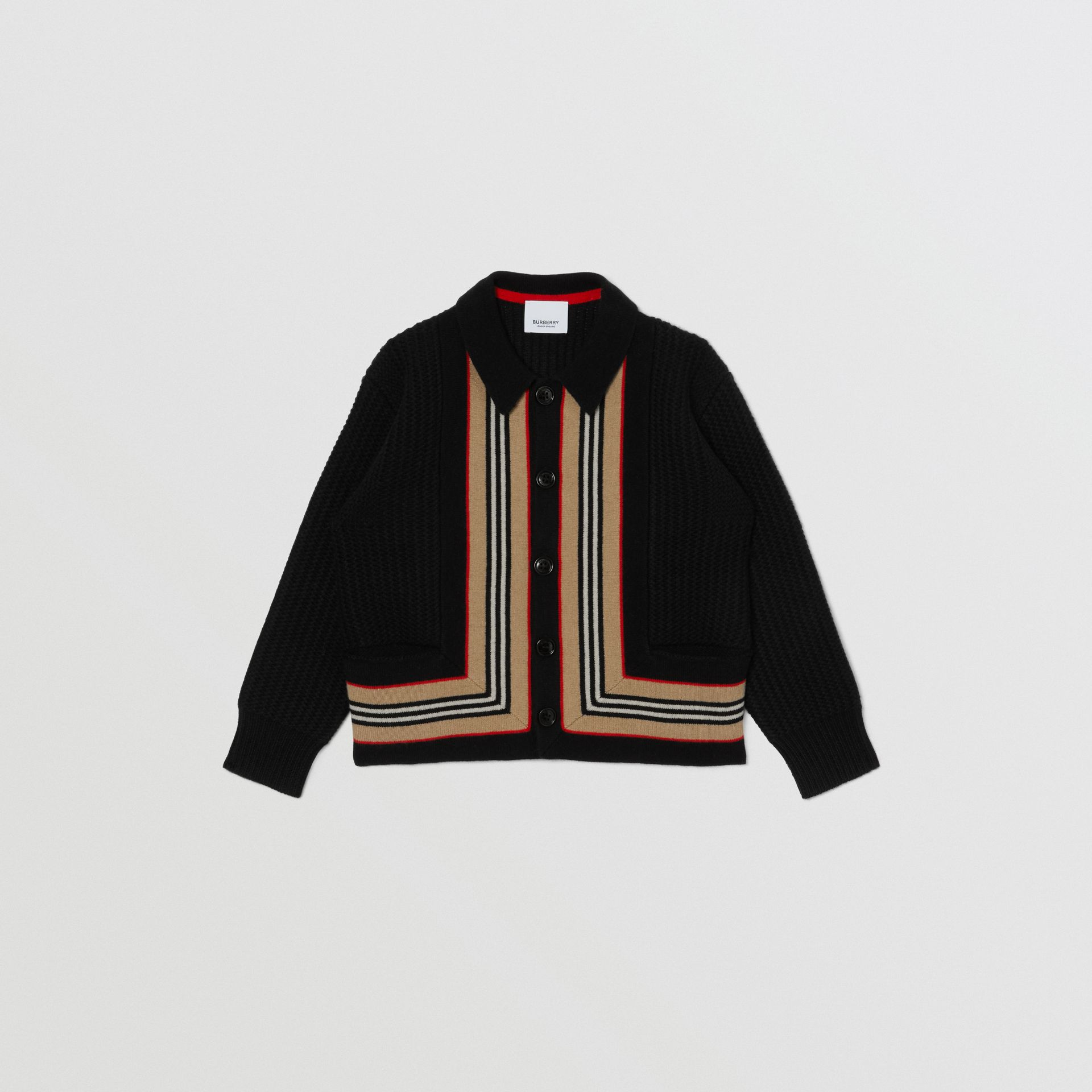 Icon Stripe Detail Wool Cashmere Cardigan in Black | Burberry Singapore - gallery image 0