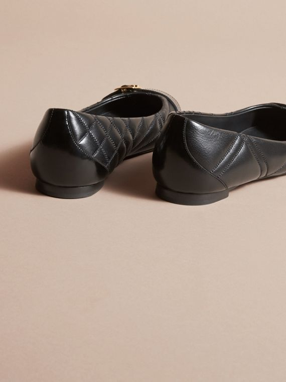 Buckle Detail Quilted Lambskin Leather Ballerinas in Black - Women | Burberry - cell image 3