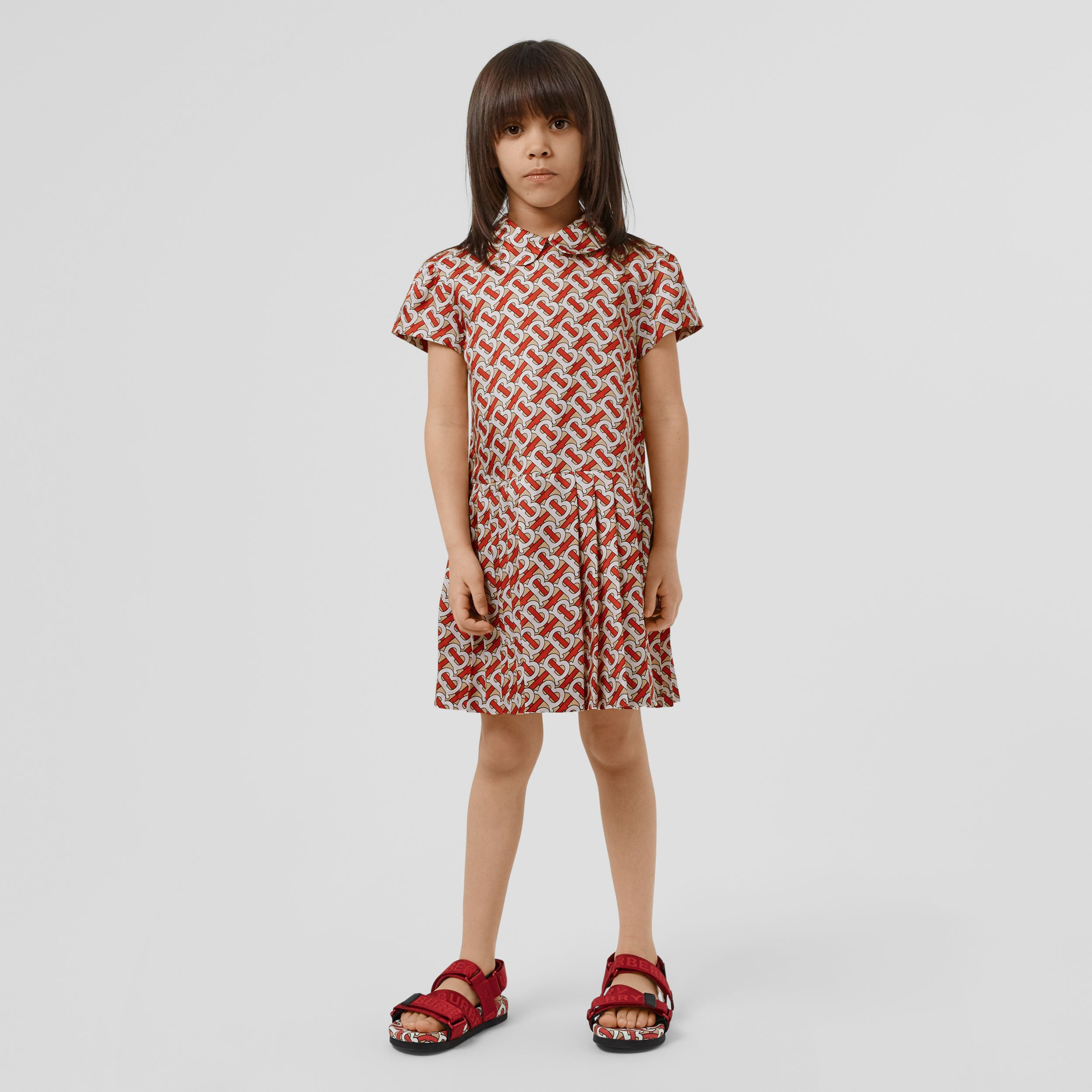 Peter Pan Collar Monogram Print Silk Dress in Vermilion Red | Burberry - 3